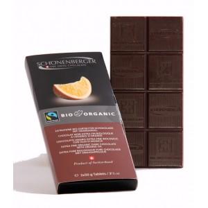 Tablette chocolat noir extra fin bio à l'orange